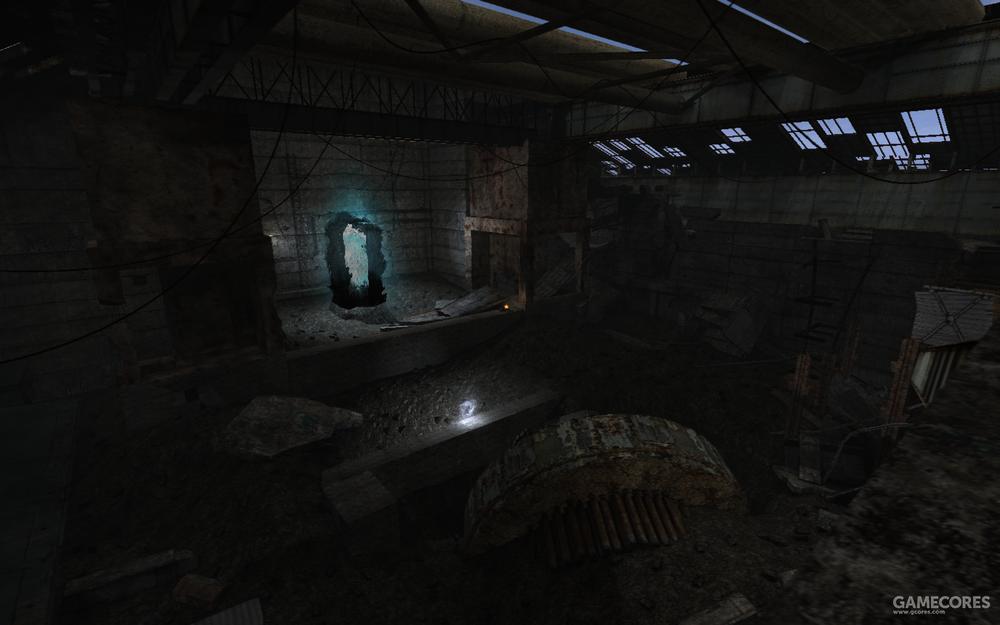 <潜行者>游戏中的许愿器'黑石'及其所在的厂房。
