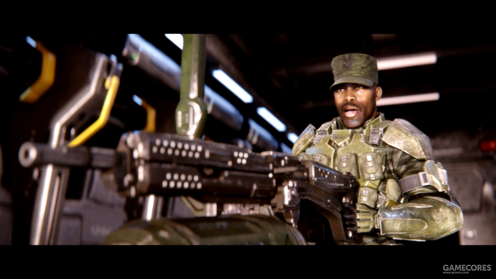 """约翰逊中士使用一挺""""鹈鹕""""尾部安装的M247机枪"""