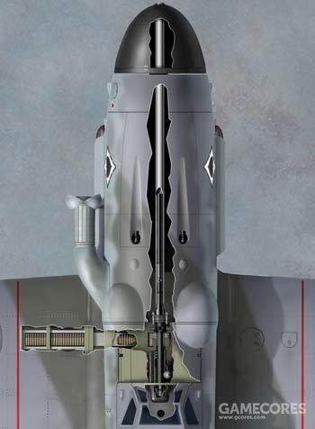 Me-109G在机头桨毂加装了一门30mm大口径机炮,用来对付盟军的轰炸机