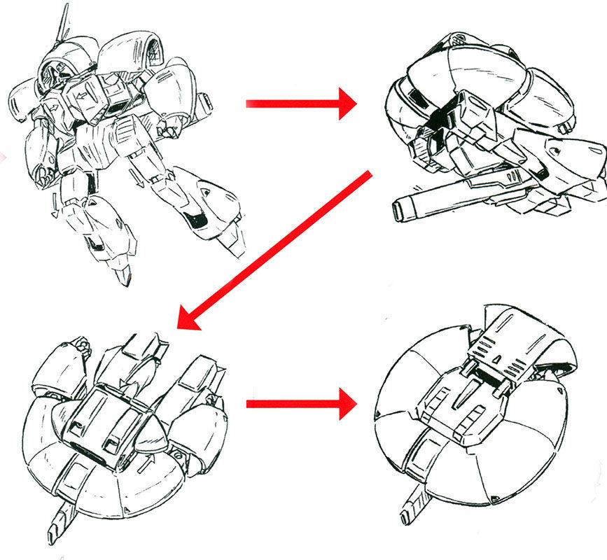 相当简洁的变形结构配合磁气覆膜技术,使得机体能够在0.5秒内完成MS和MA形态的转换。