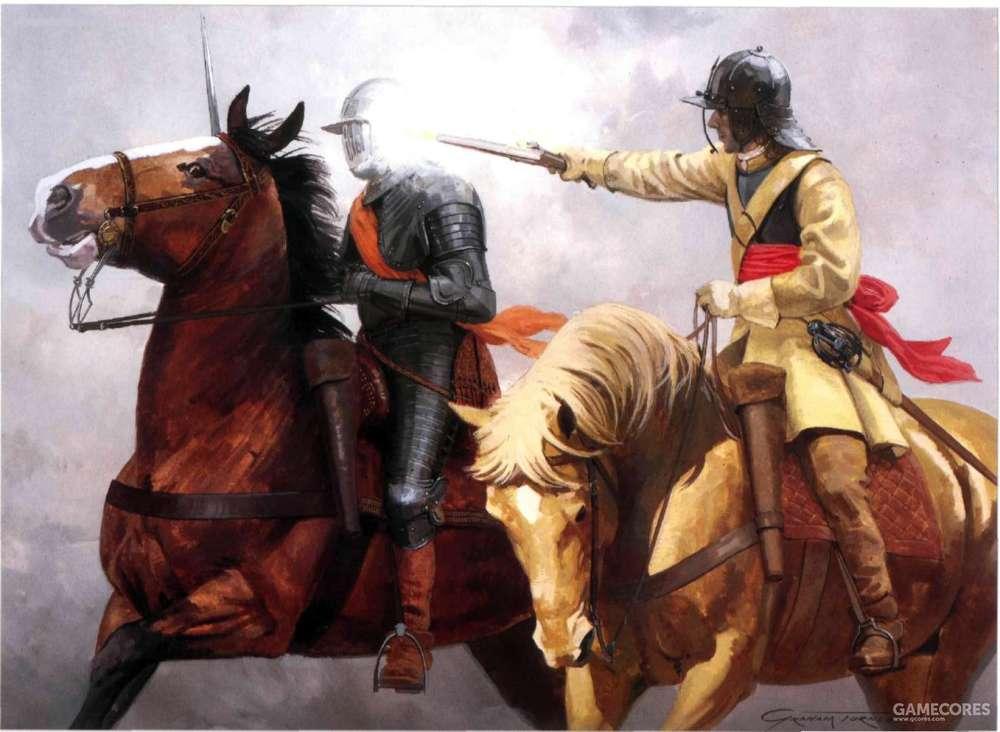 这是一场发生在1643年6月13日英国的对决,一方是保皇党的火枪骑兵,一方是议会党的胸甲骑兵。即使无法用剑和手枪杀伤敌人,火枪骑兵的机动性最后帮助他取得了胜利