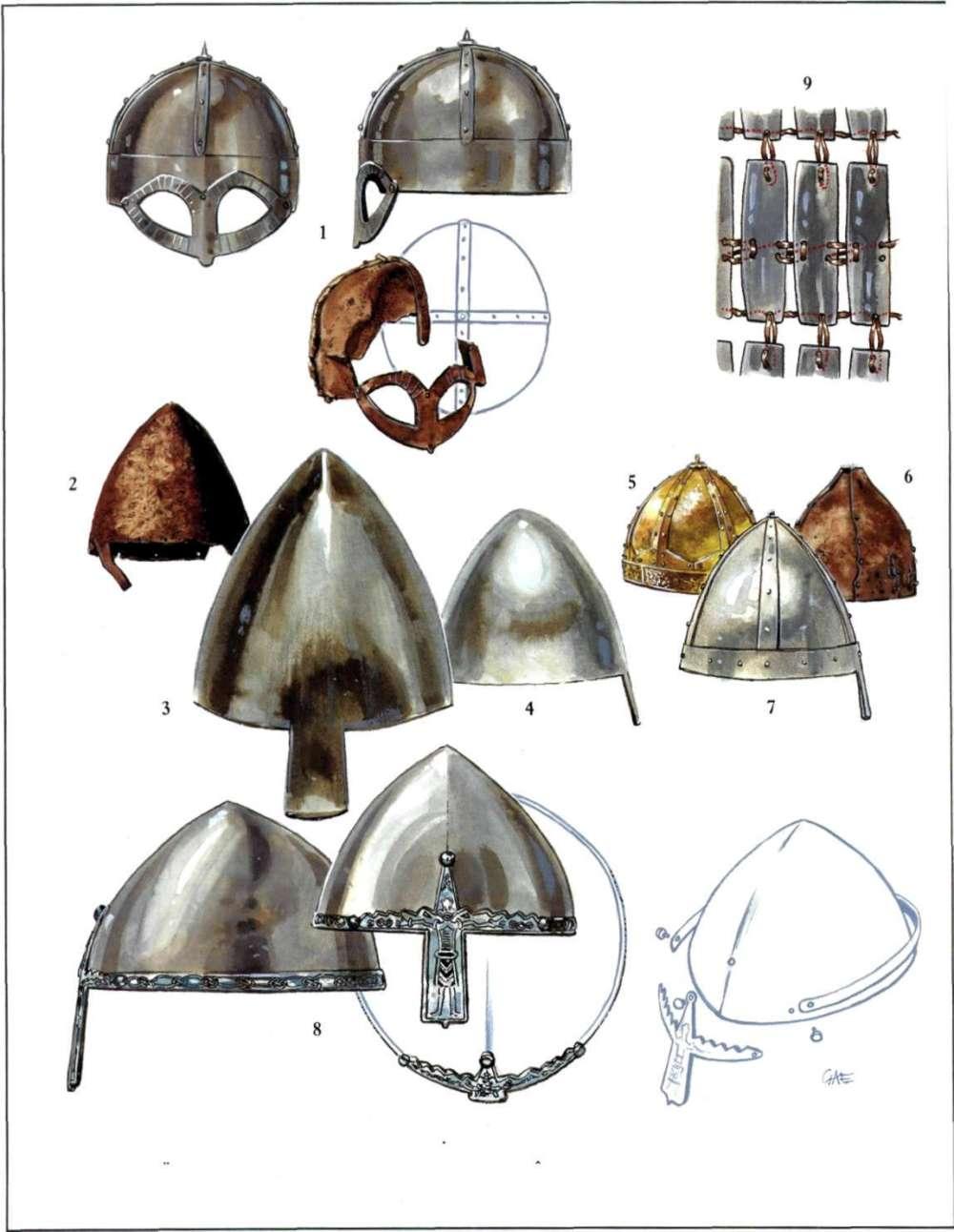 维京人的一系列头盔
