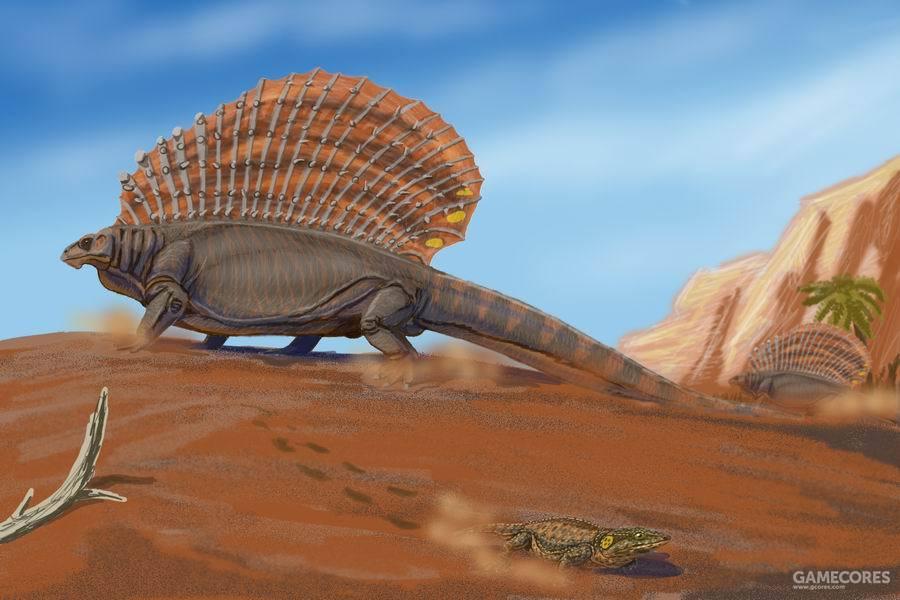 """基龙属(学名:Edaphosaurus)又名棘龙,是种原始的草食性合弓动物,属于盘龙目基龙科,生存于石炭纪末期到二叠纪早期,约3亿到2亿8000万年前。基龙的第一个化石是在19世纪晚期发现于北美洲,1882年由爱德华·德林克·科普叙述、命名。属名意为""""地面蜥蜴""""。"""