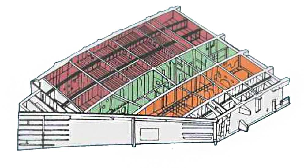 弹舱结构位于内翼段。红色部分为主弹舱,橙色部分为自卫武器舱。中间绿色部分则为起落架舱。每侧内翼段各有一组弹舱结构。