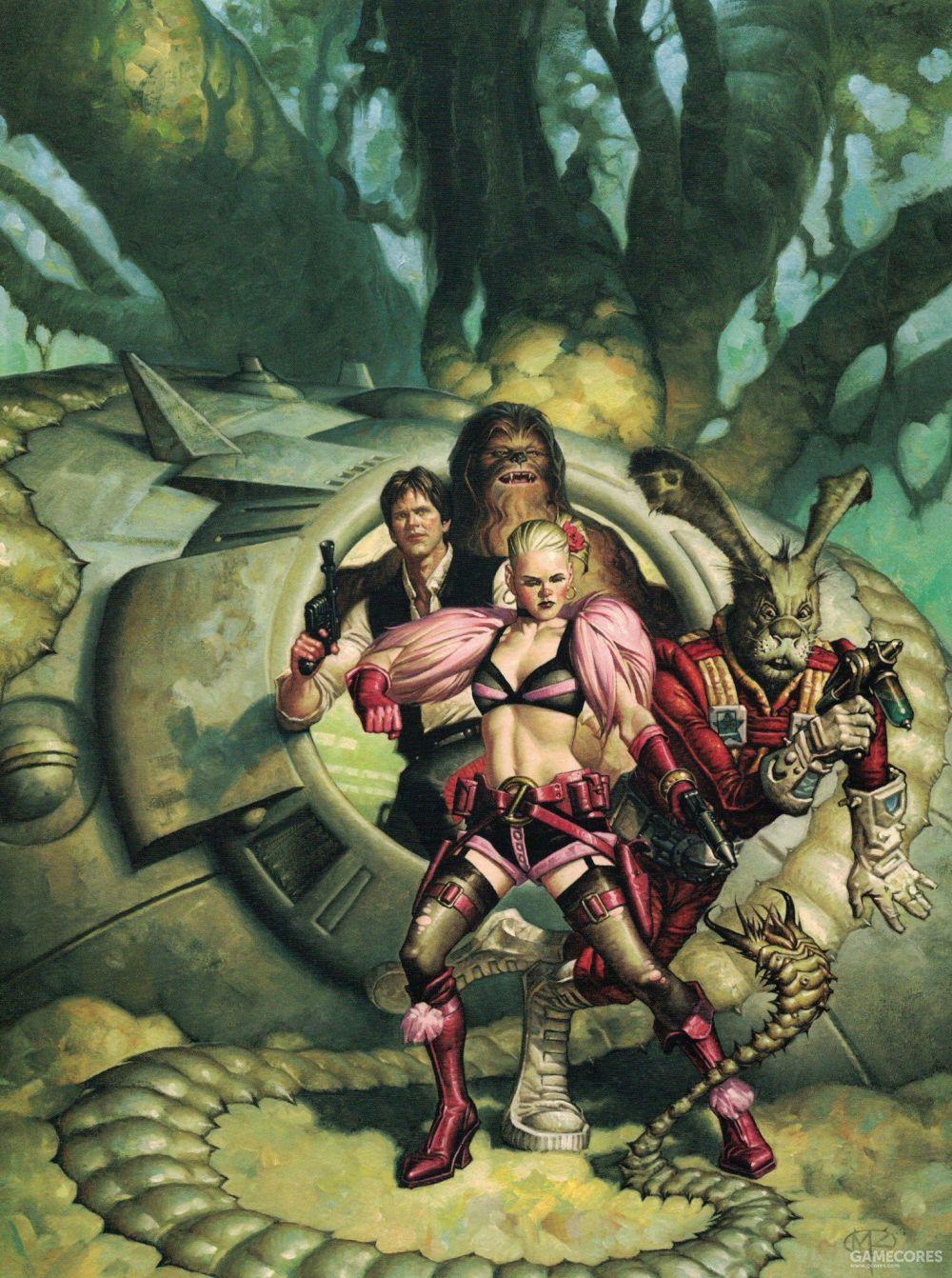 """古早《星球大战》漫画第8集""""阿杜巴3号的八武士""""(Eight for Aduba-3)的周边插画,那个""""绿皮太空兔子""""叫杰克森(Jaxxon),在科幻圈里是个臭名昭著的老梗"""