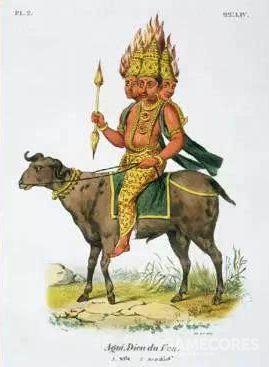 火神阿耆尼持杖的形象,搜他总是出来幻想战姬的图,还挺怪的