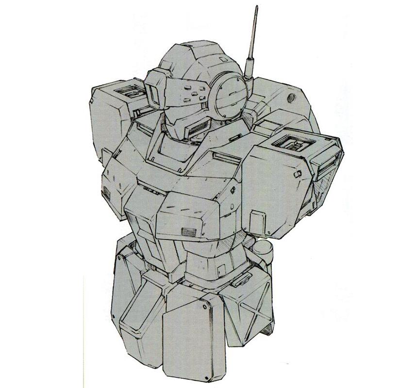 RGM-79SP以RGM-79G/GS为基础框架进行开发。正面方向的装甲防护进行了大幅强化。钛镍合金/陶瓷复合材料构成的装甲防护性相比普通钛/陶瓷复合材料更好。
