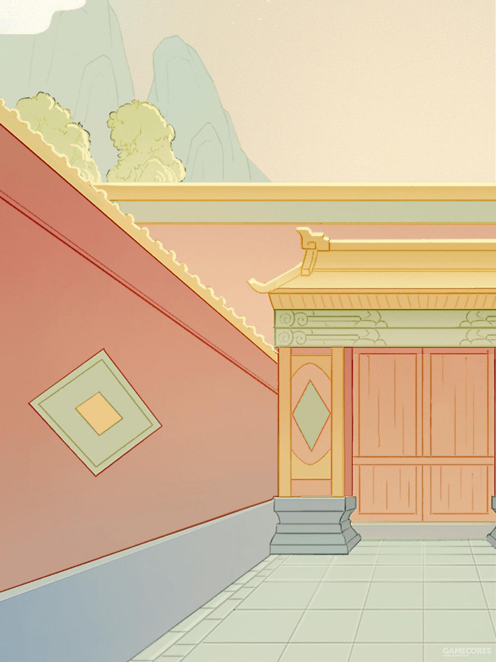 游戏中的启祥宫(今太极殿)门外,周本与禾心的邂逅,就在此不远处