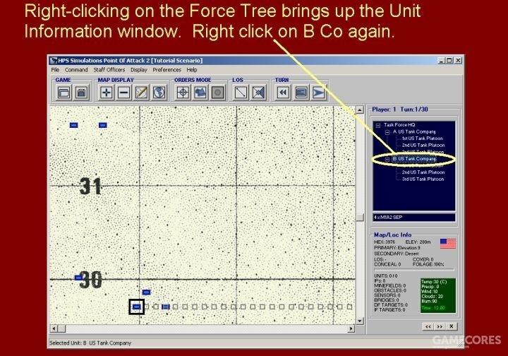 通过右键点击部队编制面板打开单位信息窗口。现在,再次右键点击B连。
