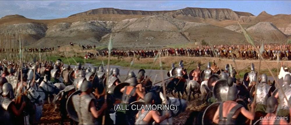 电影中对这一次大战同样没有详细描写,这是渡河的场景,看起来很粗糙