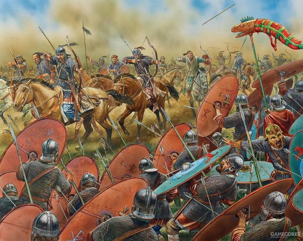 沙隆之战中射击西罗马步兵的匈人骑兵