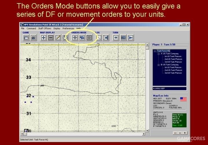 命令模式(ORDER MODE)按钮允许你向单位轻松指定直瞄目标和下达机动命令。