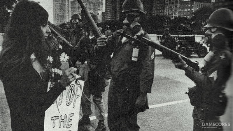 Troops interact with citizens during anti-war protests in Chicago, 1968.