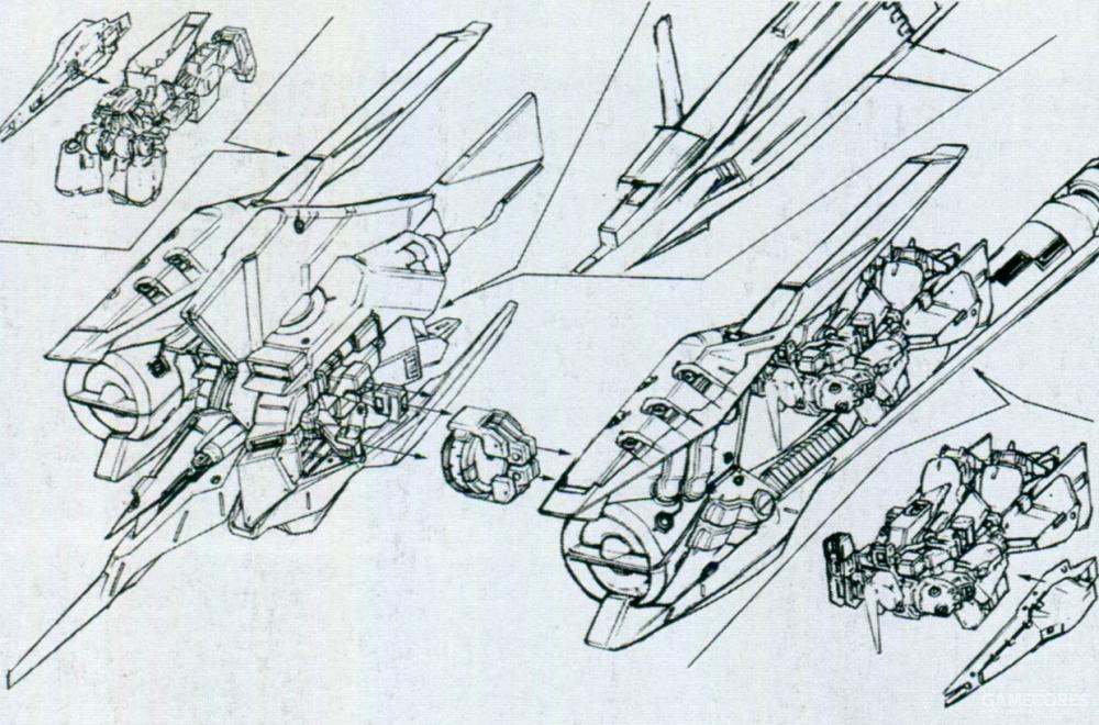 左右两侧则有一个大型模块连接在手臂/背包单元上。每个模块包含一台I力场发生器以及前后总计十个光束炮口。同时两侧个模块内部空间还能再容纳一台MS和TR-5[Fiver]一起空降。
