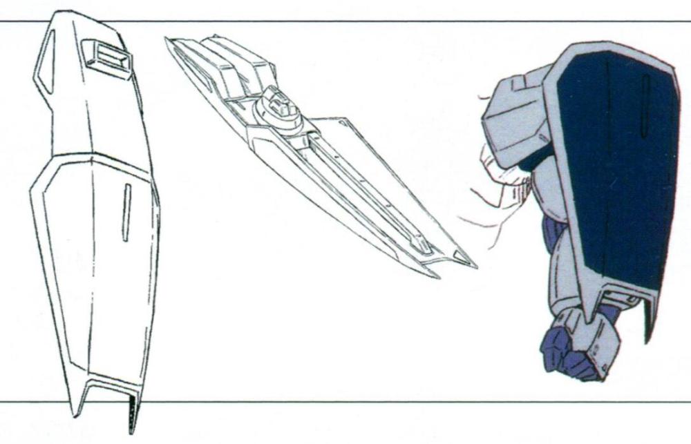标配盾牌为RX.M-Sh-VT/S-00018。表面进行了耐光束处理,能够承受连2到3发的光束步枪射击。同时盾牌采用了伸缩设计,能够收缩为突击盾大小。盾牌背面设置了光束步枪备用E-pack的挂架。