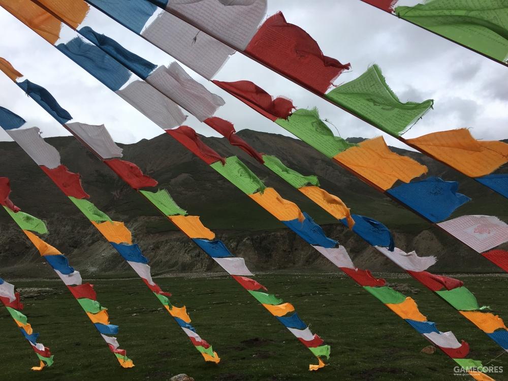 帐篷前的彩旗