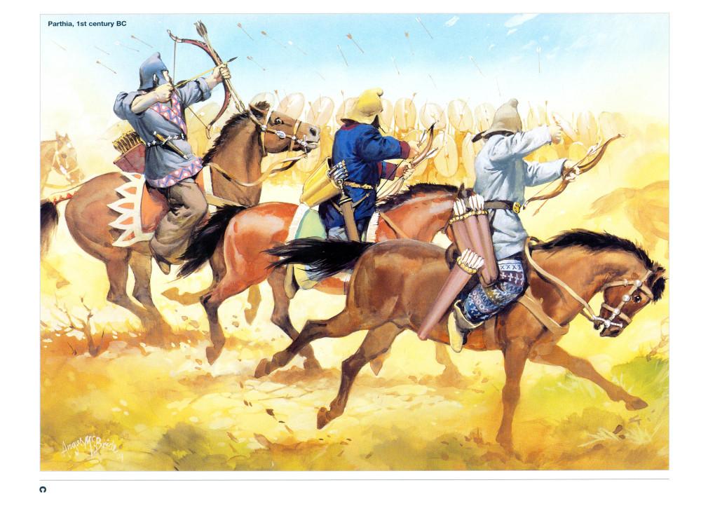 卡莱之战中射击罗马步兵的帕提亚轻骑兵