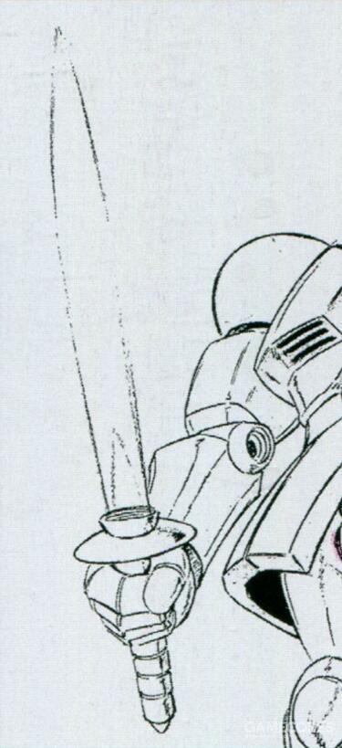 YMS-15使用的光束军刀刀刃整体呈现中部膨胀的外形。这一结果是受限于技术水平,并非设计人员本愿。该型光束军刀在功耗方面明显过高,影响了YMS-15同时搭载其他光束武器。