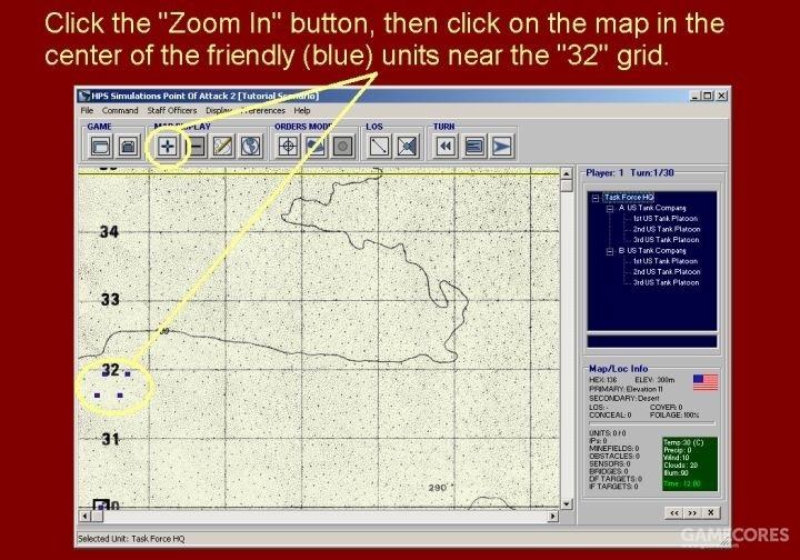 点击放大按钮(Zoom In),然后点击地图上坐标32附近的蓝方单位中央位置。