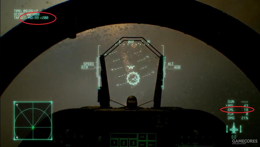 注意HUD右下角EML兵装字样,另外本作继ACAH后再次加入了热焰弹FLR