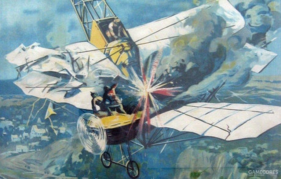 表现涅斯特洛夫击落信天翁的绘画,涅斯特洛夫也是首个开创空中撞击战术的飞行员