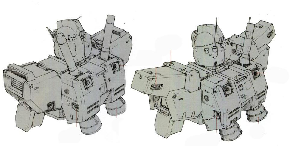 背包设计和RX-78NT-1完全相同。只是光束军刀座减少到一个。辅助喷口方面,RGM-79N相比RX-78NT-1最大的变化就是在两肩的姿势调节喷口基础上发展而来的姿势调节喷嘴梁。伸出两肩的调节喷嘴能使机体在不摆动肢体的情况下做到原地180度转向。