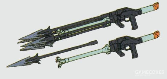 另一个可选射击武器为四联装鱼叉发射器。鱼叉头部内的高爆炸药能在击穿目标后爆炸。不同于鱼雷发射器,该型武装同时能够在水里和陆地上发射。紧急情况下能够作为格斗武器使用。