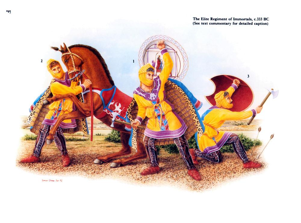 晚期波斯不死兵,基于亚历山大石棺的浮雕复原