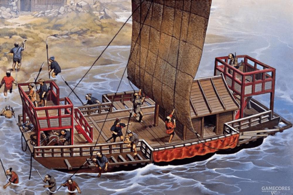 乘坐平底船的倭寇,这种船仍然属于平底帆船