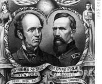 1868年的总统大选,竞选者分别是代表共和党的尤利塞斯.格兰特将军和代表民主党的前纽约州州长霍雷.肖西摩(Horatio Seymour)。有趣的是两人对选举都不怎么上心,甚至时常不闻不问,所有的选战都是党内相关人士负责的。