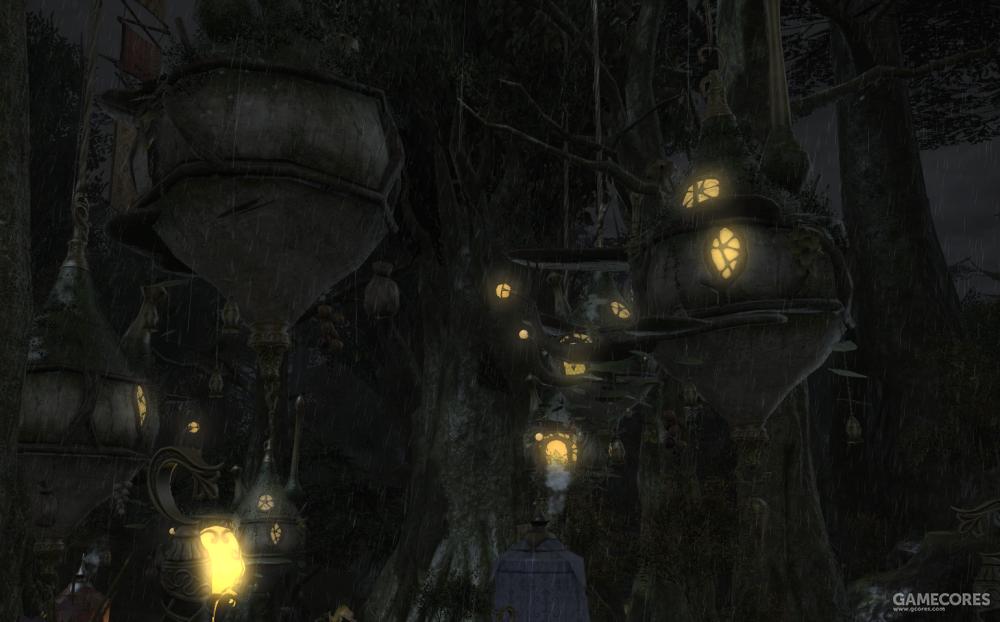 妖精族的居所呈现出纺锤形,因为每一个个体都会飞行,所以房屋与房屋之间并没有桥梁