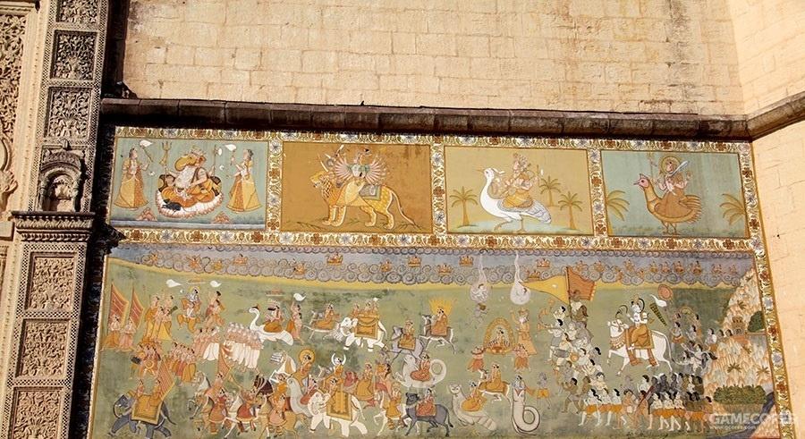 印度莫卧儿皇宫壁画,贵族出游