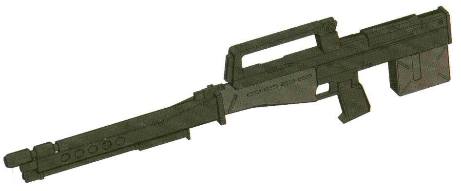 相比之下,HWF GR-MLR79-90MM型长步枪就是一型设计非常优秀的MS武器。其同样发射55.6MM次口径弹丸,精度表现依旧非常惊人。而由于该武器装备120发大容量弹舱且具备连射能力,因此同时能够承担精确射击和火力压制任务。除了RGM-79SP外,大战末期的部分RGM-79C型也配备有该型武器。