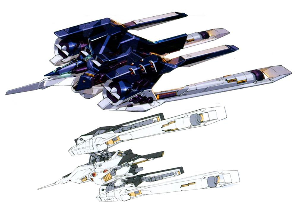 TR-5[Fiver]在MA形态便具有正反总计20门光束炮的疯狂火力。由于机体核融合炉功率几乎全部用于维持I立场装置运转,因此20门光束炮采用能量包供能。每个接合器模块装载了12个能量包。