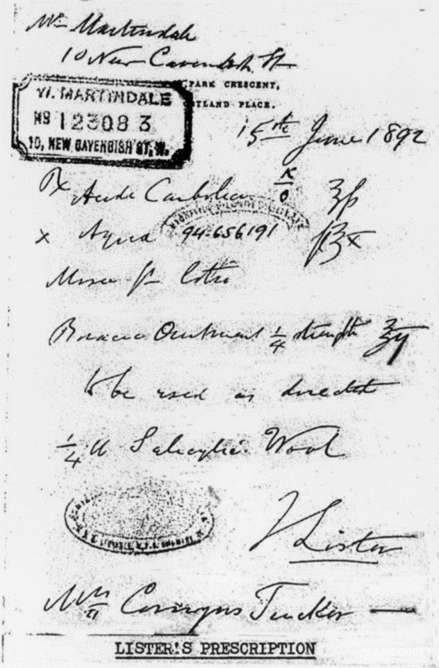 李斯特的手写处方,现存于爱丁堡的Royal College of Surgeons