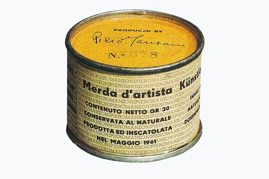 1961年《艺术家的屎》Piero Manzoni。90罐30克装艺术家新鲜罐装的屎。《北野武的挑战状》也没有这么干过。