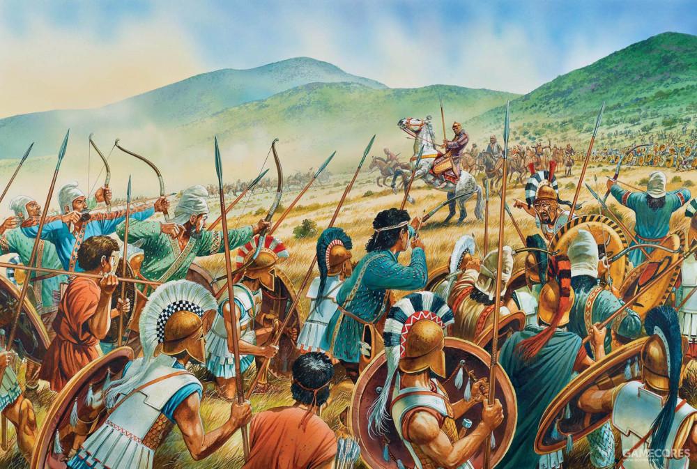 绘画表现的是普拉提亚之战中,希腊军中的斯基泰射手和轻装投枪兵正在射击波斯骑兵统帅马西斯提欧斯,即图中骑马者。据记载他身穿防护严密的黄金鳞甲和封闭头盔,弓箭射不穿。一个雅典兵用长矛对准他的眼睛一刺,于是杀了他。