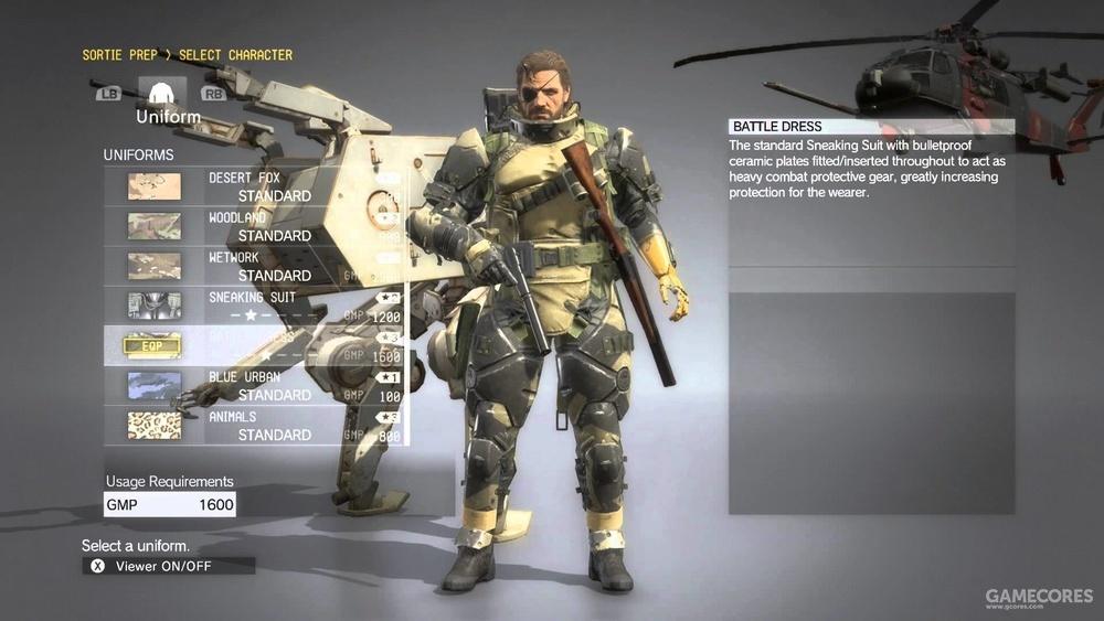 MGSV任务出击界面,可以选择队友,自定义装备