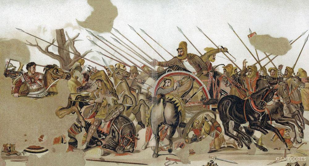 """出土于庞贝城的""""亚历山大""""镶嵌画,一般认为是描绘了伊苏斯之战。在残破的图画左侧,亚历山大怒目圆瞪,身披刻画着美杜莎头像的胸甲,手握的长枪已经刺死了一个骑兵,他正策马奋力追赶死敌。右侧,大流士三世正在逃跑,恐惧地回头看着自己的煞星,他的车夫正疯狂地扬鞭狂飙,一个骑兵试图保护自己的皇帝。一般认为这是一幅前4世纪希腊绘画的复制品,和亚历山大同时代。"""