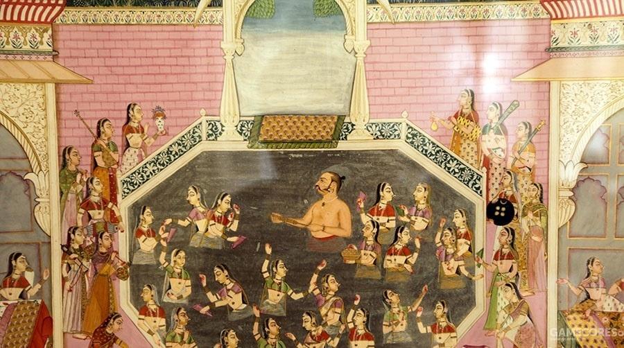 莫卧儿皇宫壁画,洗浴场景