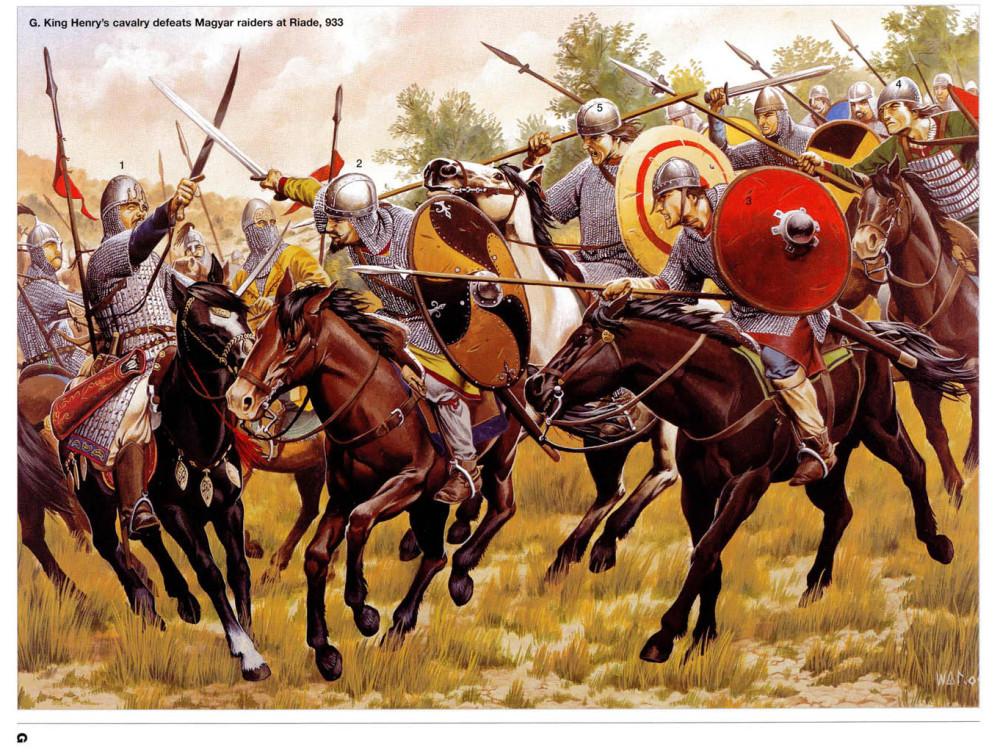 933年大败匈牙利人的德意志骑士们,当时的匈牙利人依然是骑射为主的游牧民族