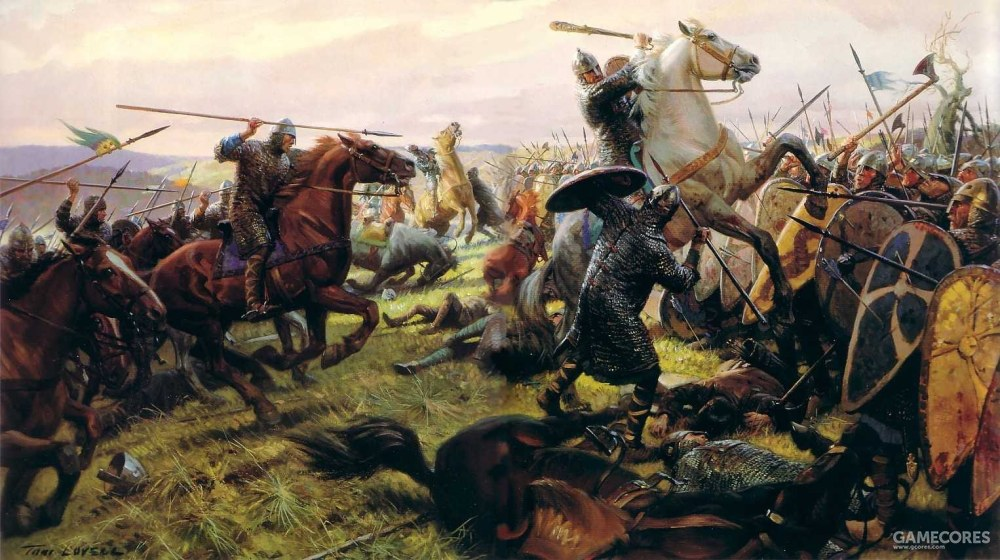 仅靠冲击的诺曼骑士并无法突破步兵阵线
