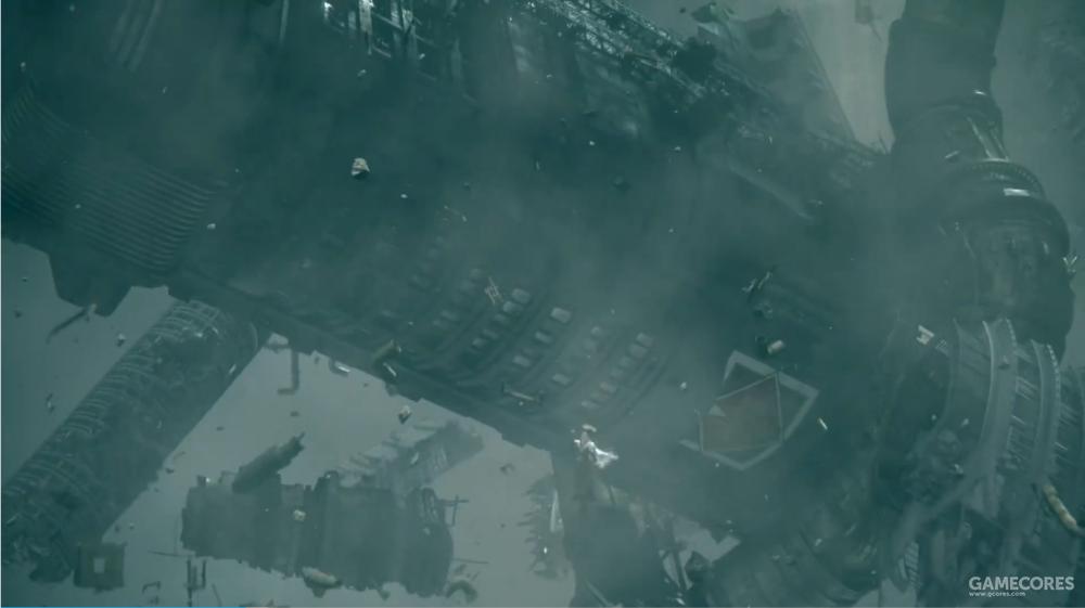仔细看丢过来的垃圾,是神罗大楼的废墟