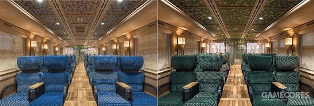 官方配图,两节列车的蓝、绿色风格