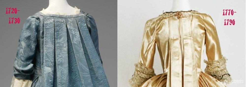 pli Watteau 的演变。source: Costumière hystérique