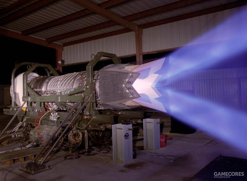 二元矢量推力喷口能提供±20度的俯仰矢量推力。为此搭载于YF-22的发动机需要专门设计带矢量推力功能的喷口。