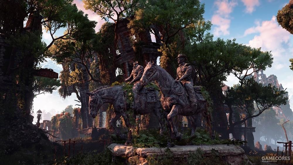 正式版游戏中的雕像