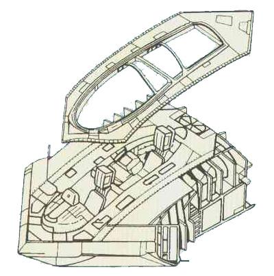 A-12采用类似任务战机常见的双座设计。驾驶舱一度考虑采用一种特殊的整体弹射逃生设计。逃生舱弹出后会伸出一堆短翼以进行较长距离的滑翔飞行。不过最后因为进度原因而被放弃。