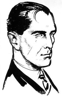 弗莱明手绘的邦德肖像,M字秃顶非常英国