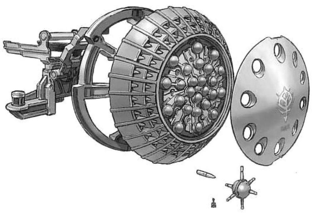 盾牌上搭载的微型发射器是YMS-15唯一的射击武器。通过和盾牌搭载的机雷配合,能够限制目标移动,将其逼入格斗战。